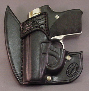 The author's Seecamp in Meco's Batman front pocket holster.