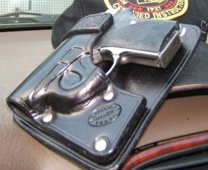 The author's Seecamp in a Meco rear pocket holster.