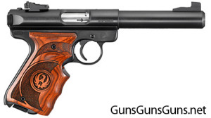 The Ruger Mark III Target with laminated grips.