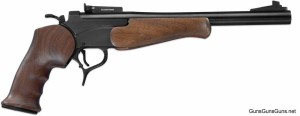 """Blued with the 12"""" barrel, adjustable sights and walnut grips."""