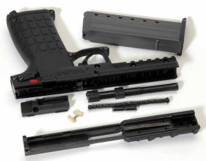 The PMR-30 disassembled. No further disassembly is advised.