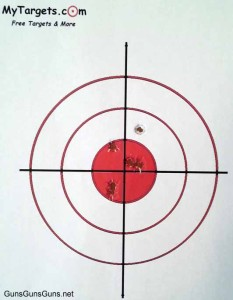 The author's target results with the DB380.