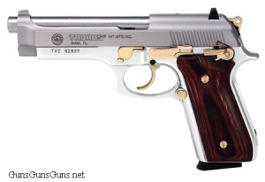 Taurus 92 stainless wood gold left side photo