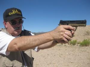 photo of author shooting the gun