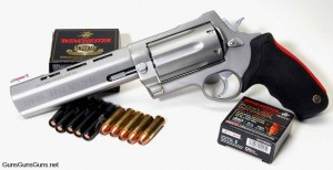 The RJM from the left, with .454 Casull and .410 ammo.