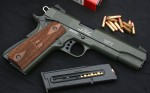 Handgun review photo: the SIG 1911-22 with an olive-drab finish, right side.