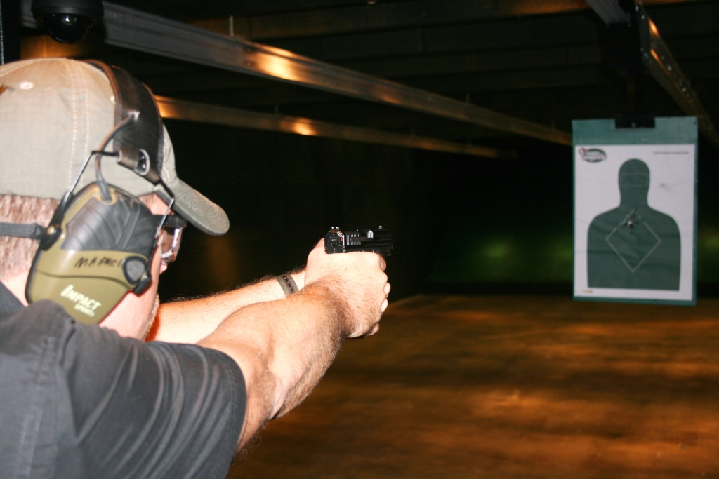 Handgun review photo: The author shoots out the 9C1 Gen 2.