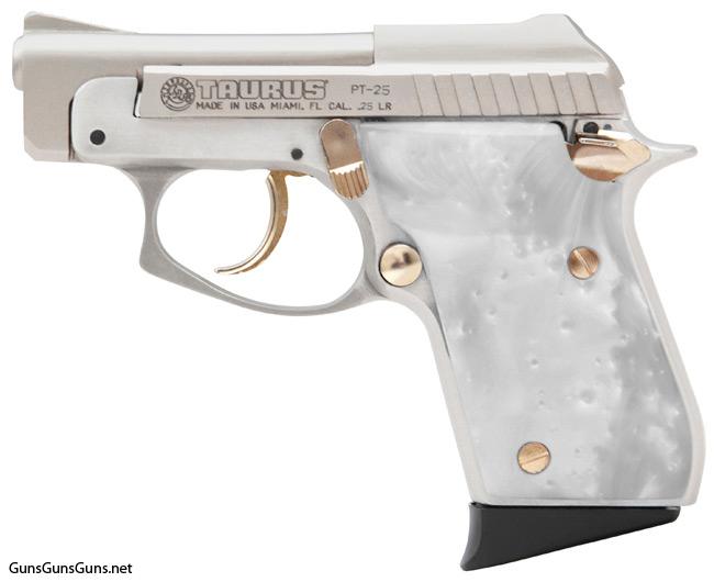 Handgun review photo: the Taurus PT-25 w/pearl grips, left side