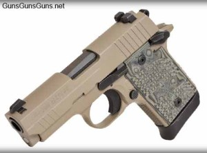 The P938 Scorpion, which features a flat dark earth frame and slide, Hogue Extreme G-10 grips and mainspring cover.