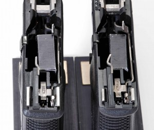 Note the new dog-leg ejector in the 30S (right) compared to the 30 (left).