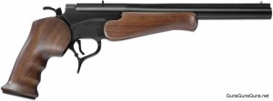 """Blued with the 12"""" vent rib barrel and walnut grips."""