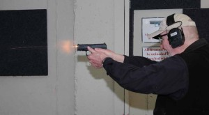 The author sends a 9mm round downrange with his PPQ M2.