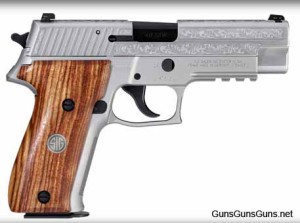 The P226 Engraved stainless model, from the right.