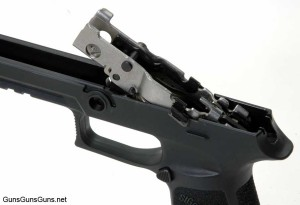 The author's P320 with the frame chassis partially removed.