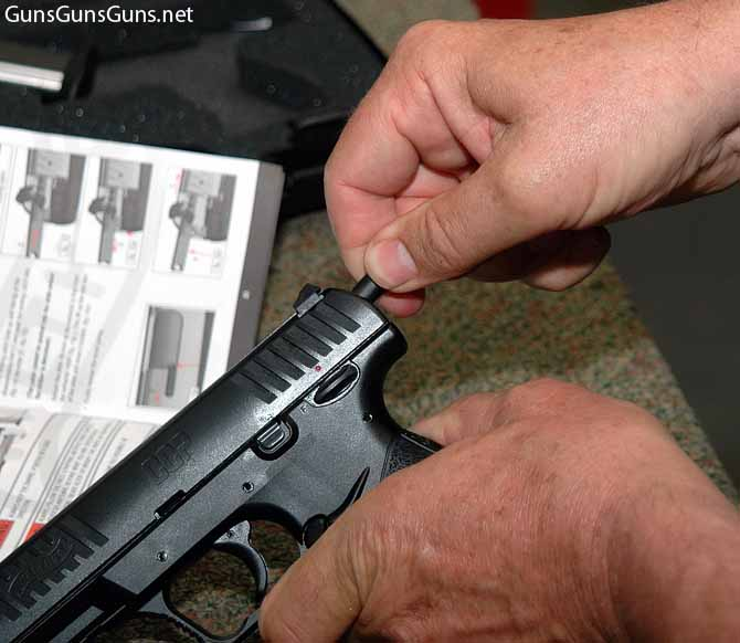 Walther CCP using disassembly tool photo