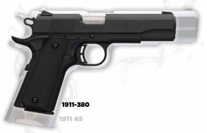 This image shows the Black Label 1911-380 superimposed over a full-size 1911.