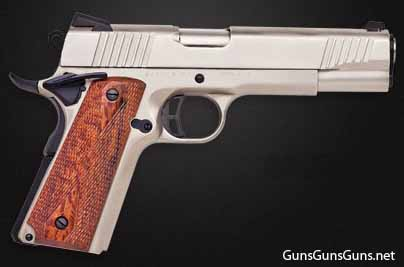 Citadel M-1911 brushed nickel wood grips right side photo