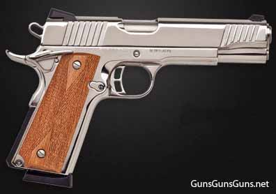 Citadel M-1911 polished nickel wood grips right side photo