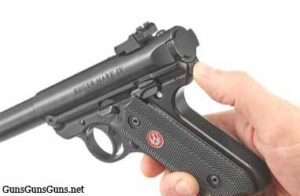 Ruger Mark IV Target takedown button photo
